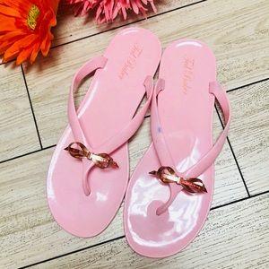 Ted Baker pink jellies rose gold flip flops 7